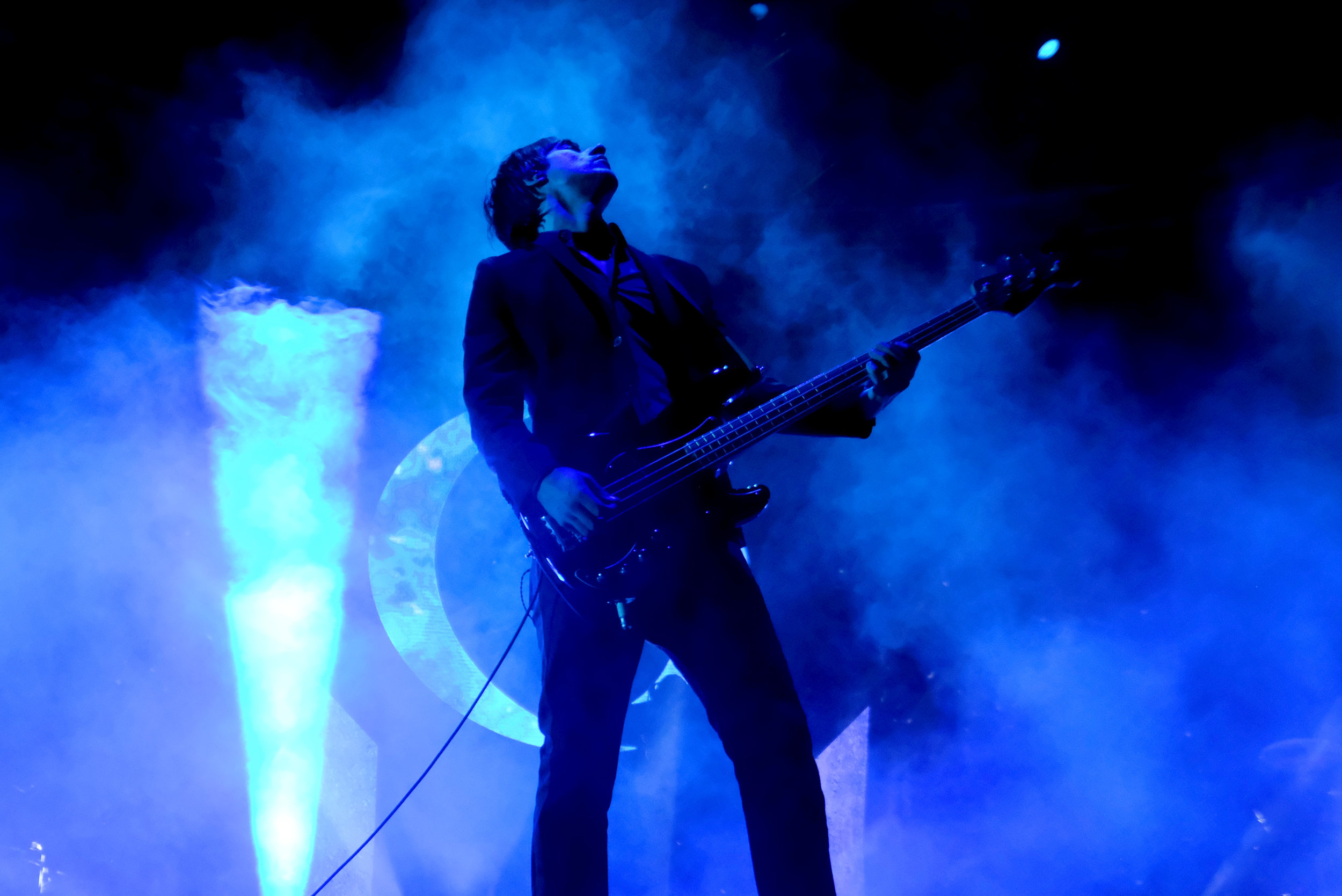A Perfect Circle   Scrim during performance showing UV paint effects