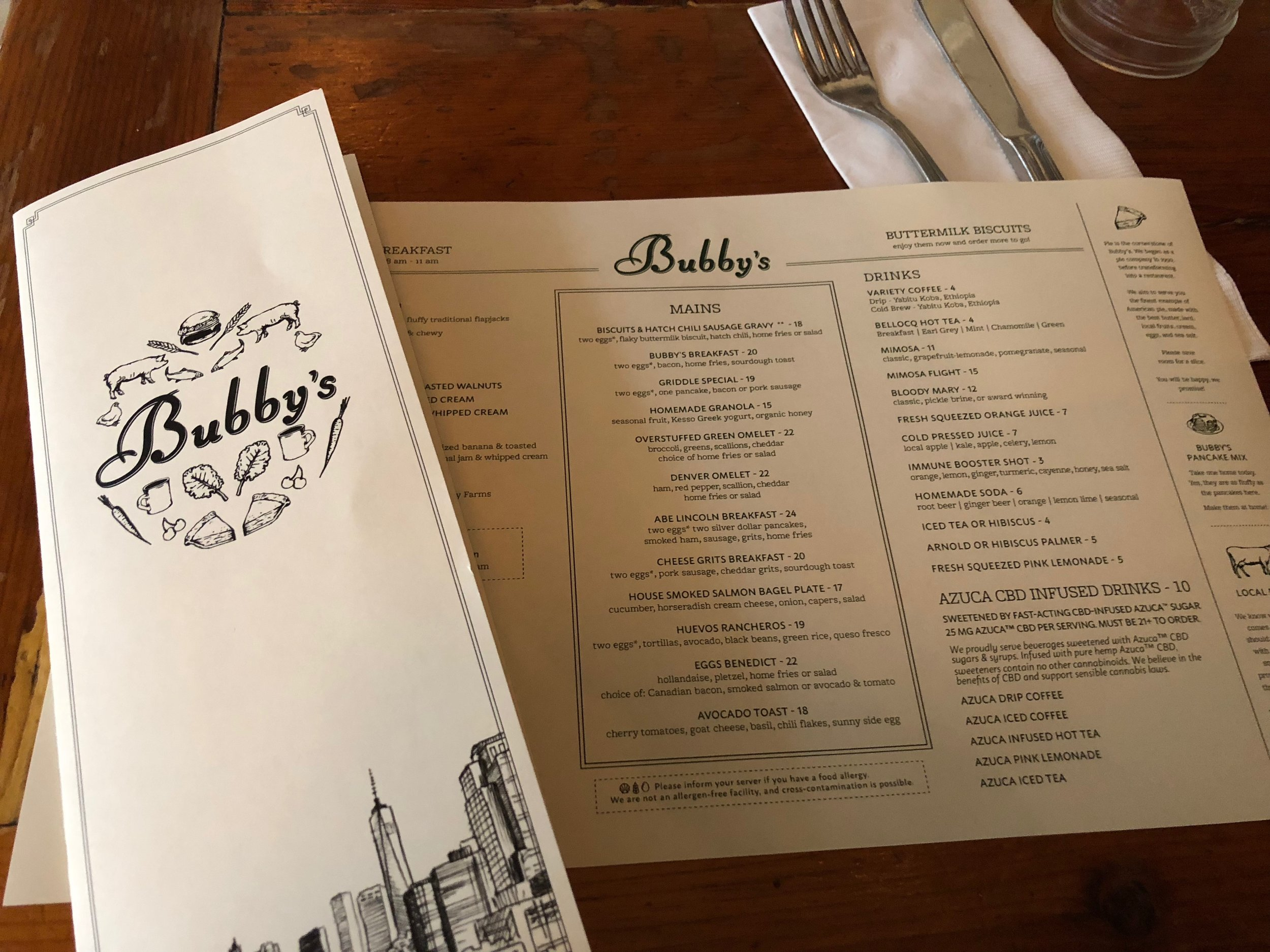 bubbys menu