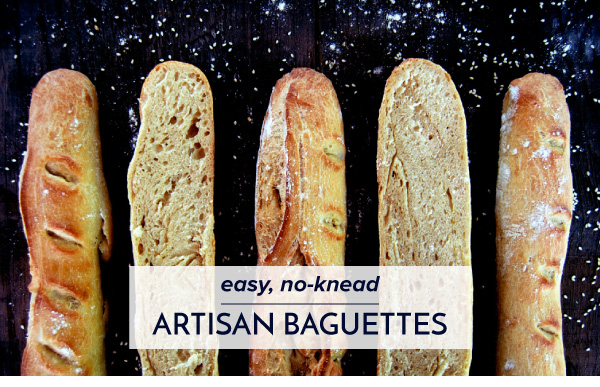 Easy, No-Knead Artisan Baguettes