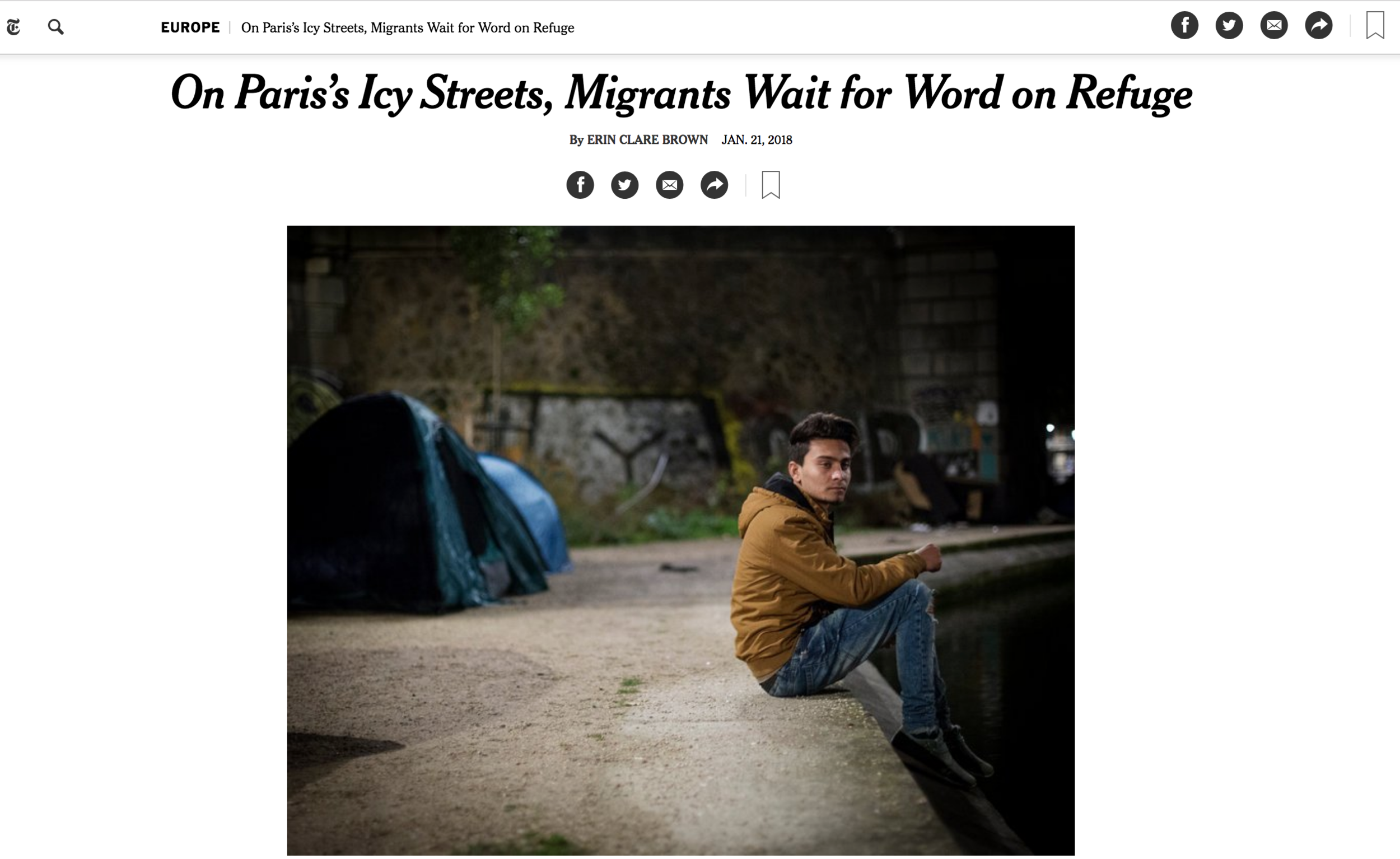 New York Times - Homeless Migrants on the Streets of Paris