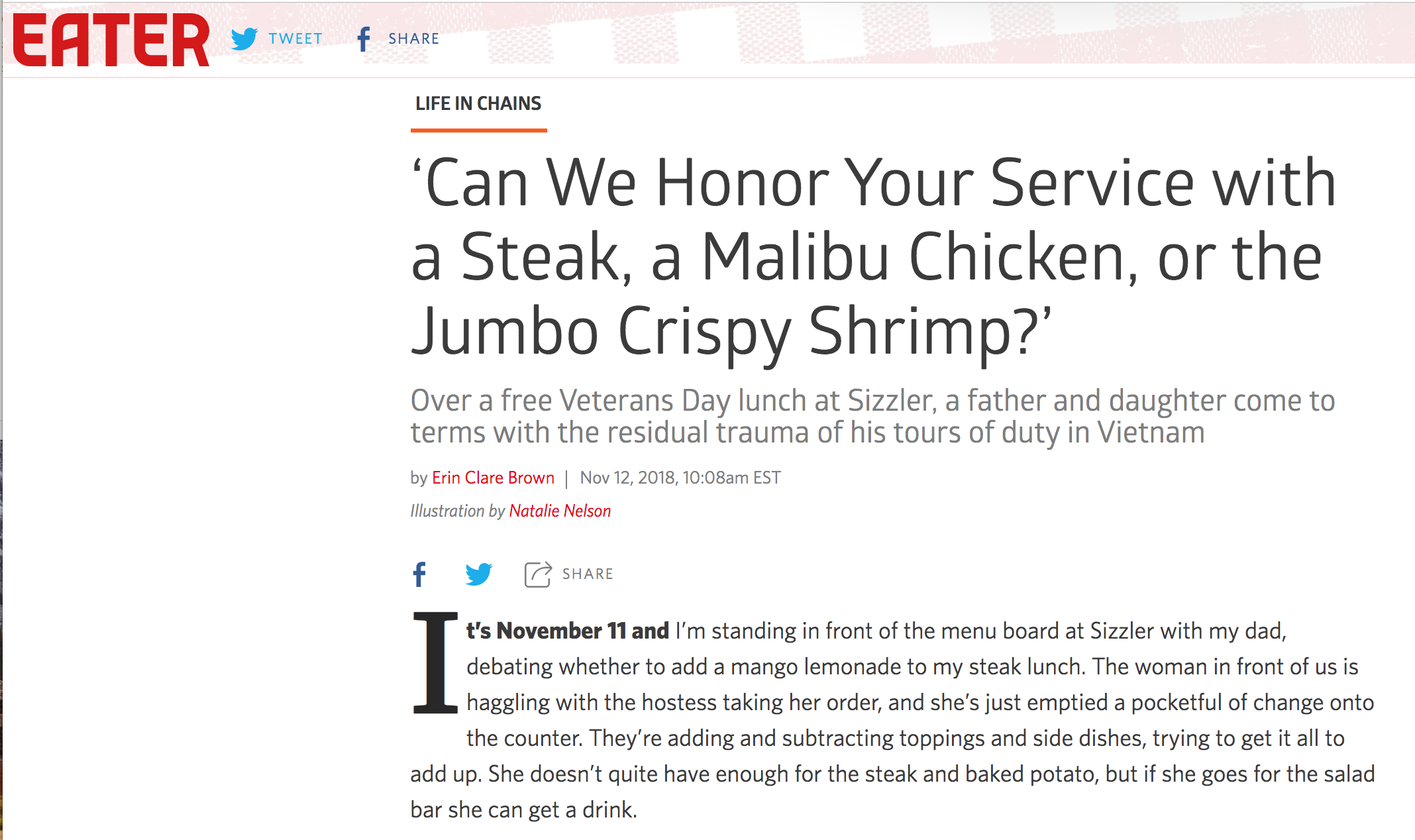 Eater - What do we owe our vets if not a free steak lunch?