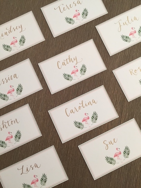Fun, casual place cards for a bridal shower