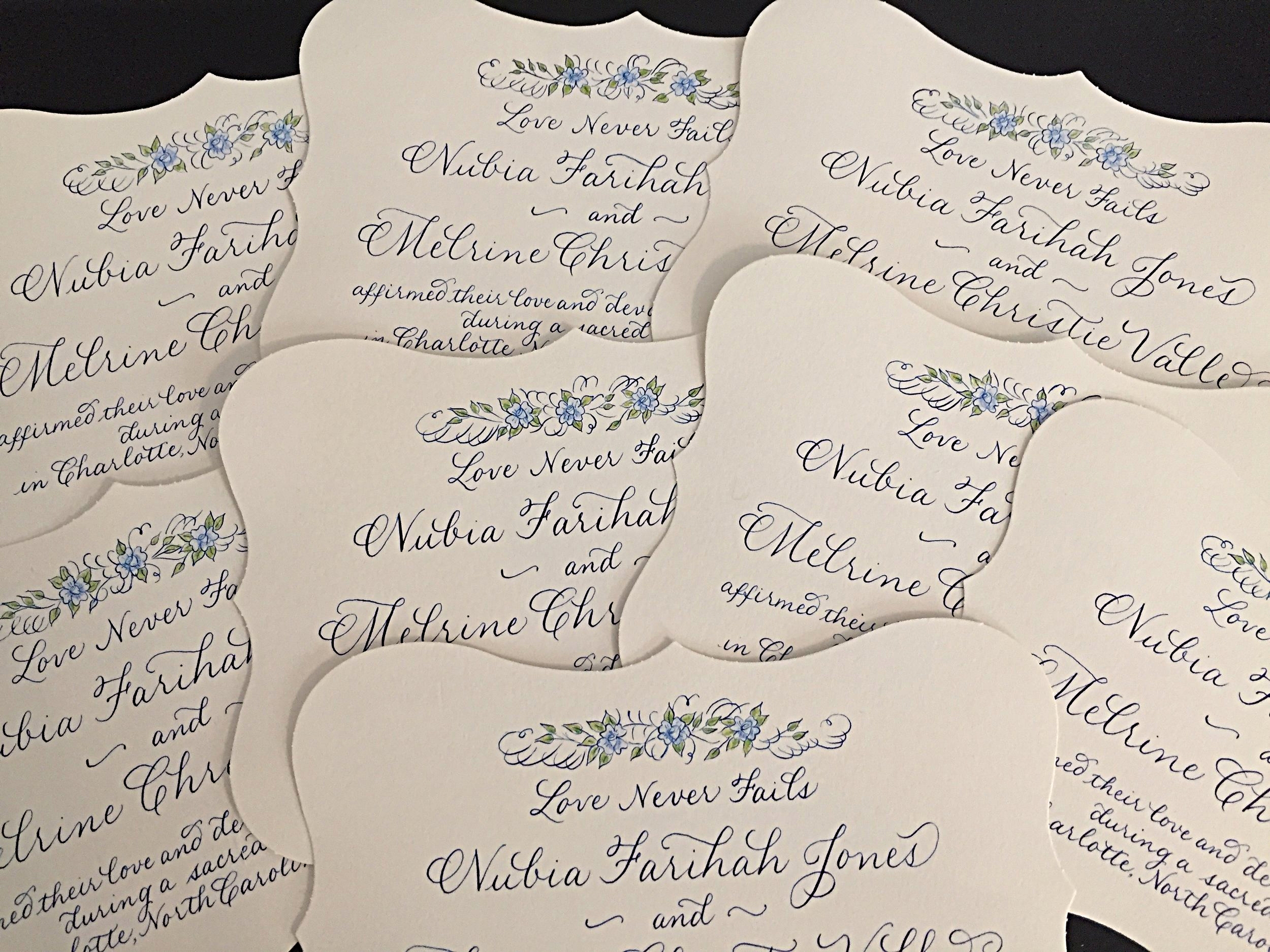 Custom invitations for a small wedding - each one hand lettered