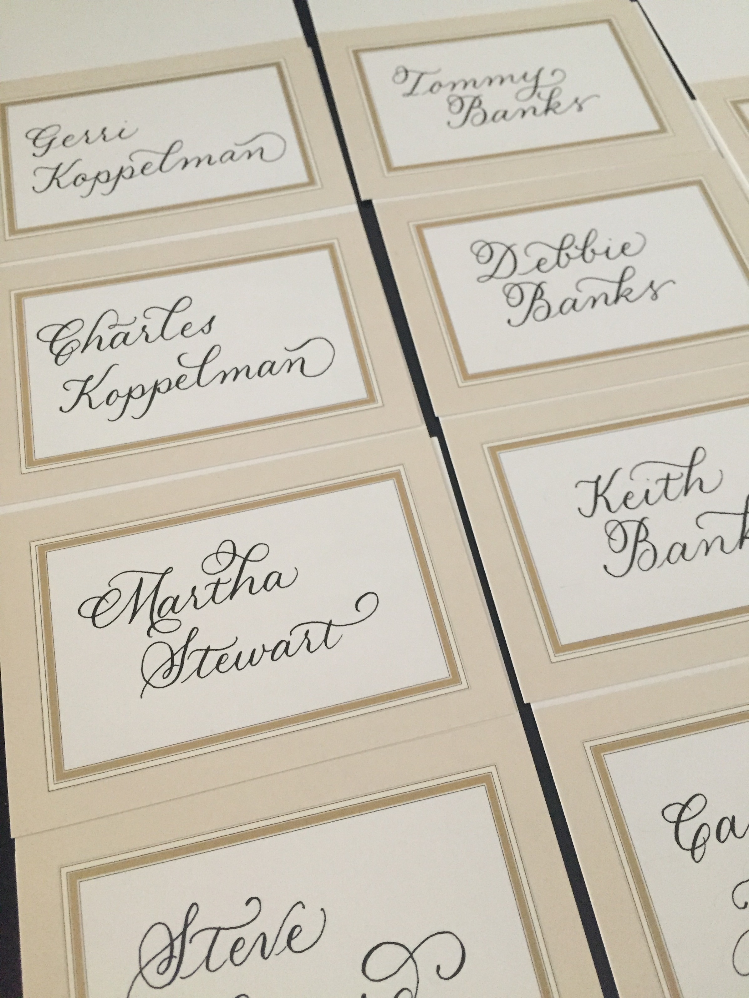 An actual place card for THE Martha Stewart for a corporate event in NYC