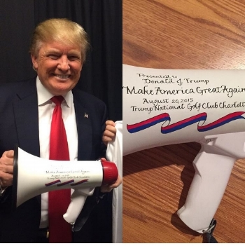 This megaphone was presented to Donald Trump during his presidential campaign in Charlotte.