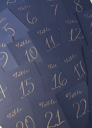 Glisteny gold ink on navy table cards