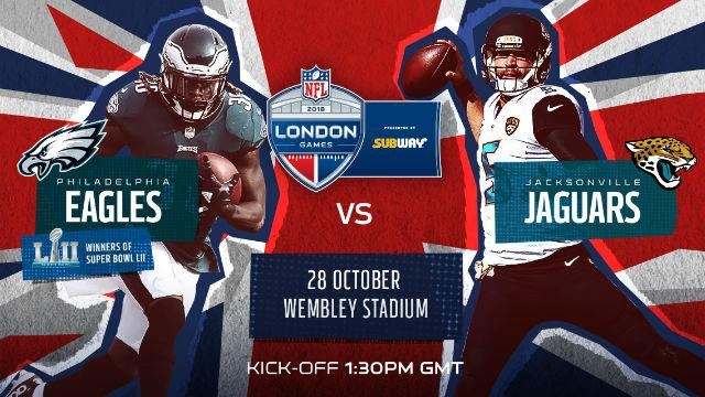 The Philadelphia Eagles will play the Jacksonville Jaguars on October 28th at 1:30 PM GMT.