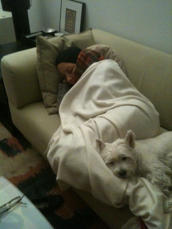 Donna and Nina taking a nap before Sunday Dinner