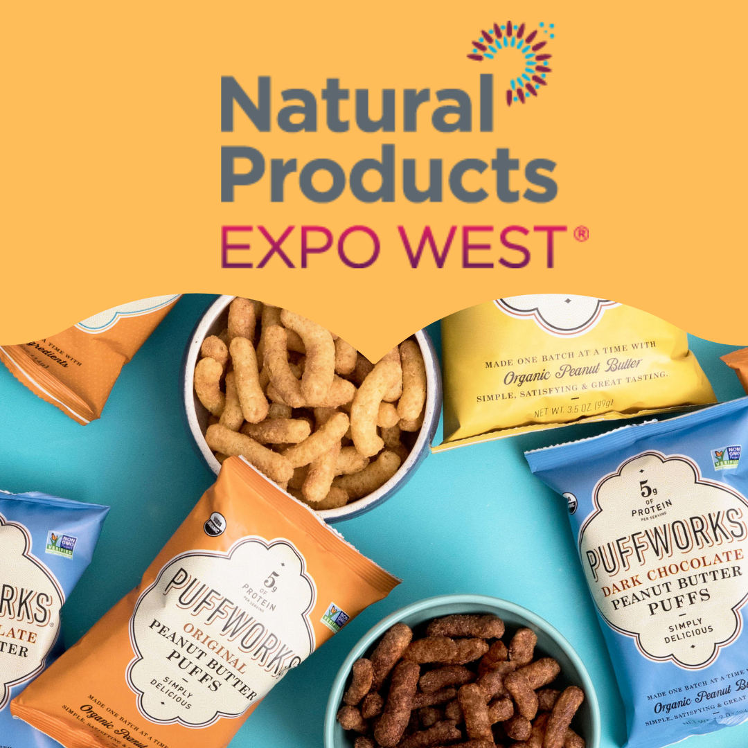 Natural Products Expo West is NEXT WEEK! - We are thrilled to be sampling our products at our own booth this year. If you're heading to Anaheim, be sure to bookmark our booth number (BOOTH H607 in the Hilton). We will also be sampling a new flavor so don't miss out - we have limited samples available.If you're a buyer and would like to check out our Sell Sheets in advance of the show, see below:Puffworks Organic Peanut Butter Puffs - 3.5 ozPuffworks Organic Peanut Butter Puffs - Single-ServePuffworks baby Organic Peanut Butter PuffsWe hope to see you there!