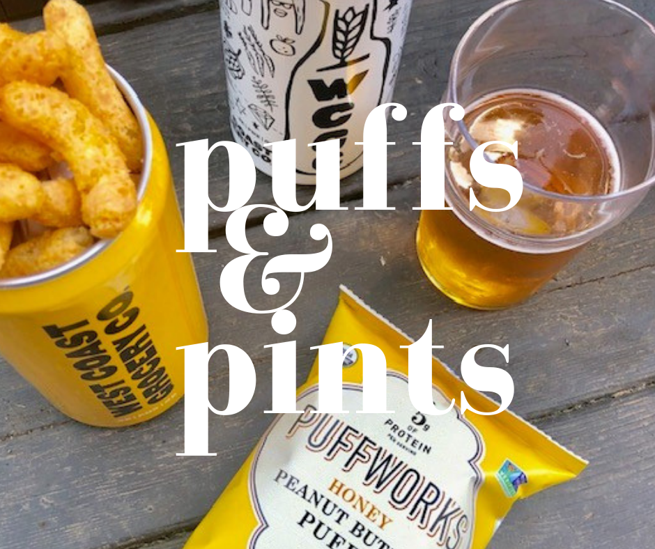 PUFFS & PINTS - What better way to kick off summer than with beer and delicious snacks?We're partnering with local Portland brewery, West Coast Grocery Company to celebrate the first day of summer with a PUFFS & PINTS flight night!Are you local? Join us on Friday, June 21 from 4-6 pm to enjoy a $10 flight of their seasonal beers hand-selected to bring out the nutty flavors of our organic peanut butter puffs (original, dark chocolate, and honey!). Each flight will come with complimentary bags of our puffs! Get the details below or check out our Facebook event.When? Friday, June 21 from 4-6 pmWhere? West Coast Grocery Company1403 SE Stark StreetPortland, Oregon, 97214We hope to see you there!Cheers!