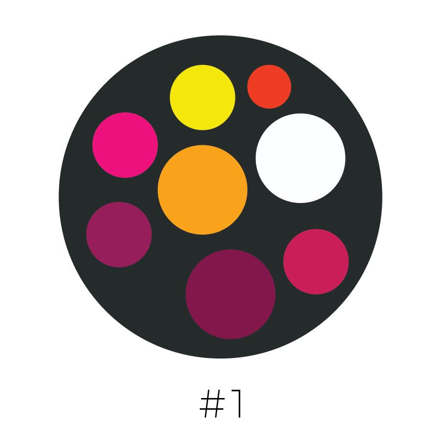 Charcoal Background | Canary Yellow, Blood Orange, Flamingo Pink, Cadmium Yellow, Wine, Dark Wine, Magenta & White