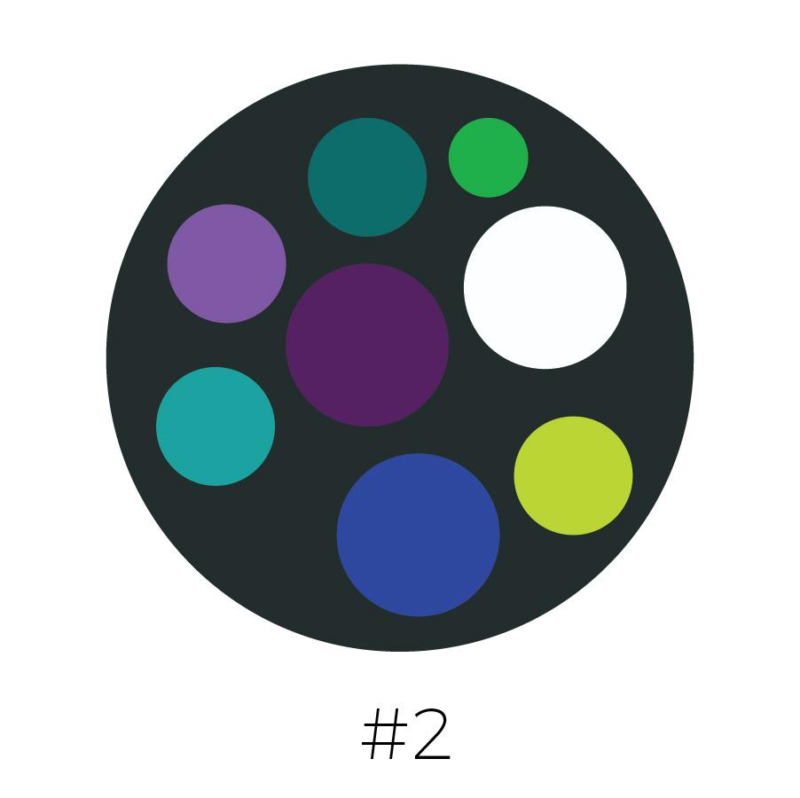 Charcoal Background | Teal, Grass Green, Orchid Purple, Plum, Aqua, Cobalt Blue, Lime Green & White