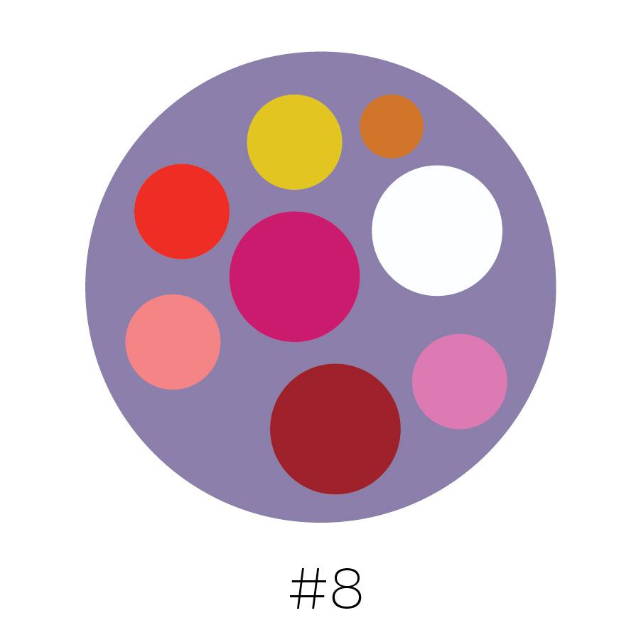 Heather Purple Background | Yellow, Tangerine, Blood Orange, Magenta, Dark Blush, Red, Light Mulberry & White