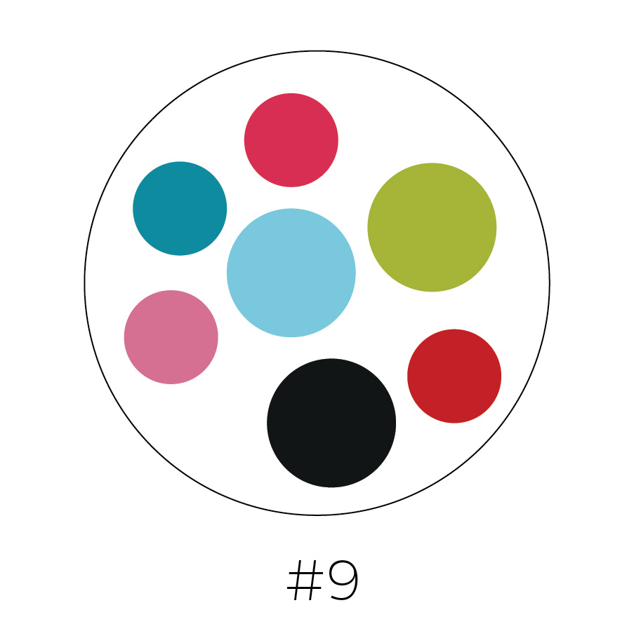 White Background | Rosewood Pink, Teal,  Sky Blue, Pear Green, Pink, Black, Red  & White