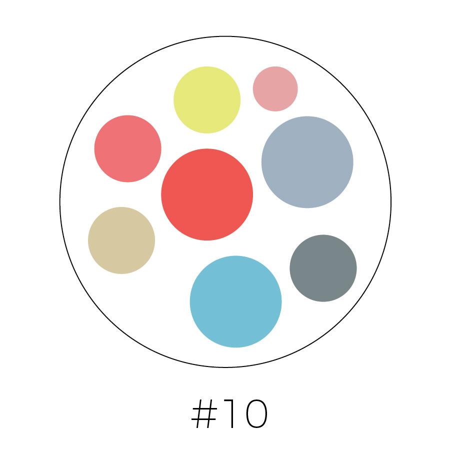 White Background | Chartreuse, Blush Pink, Light salmon, Salmon, Steel Gray, Beige, Light Blue, & Dark Gray