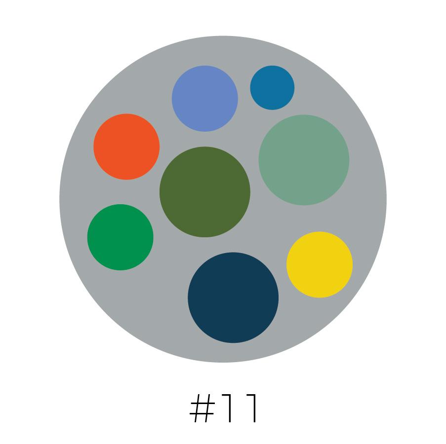 Gray Background | Powder Blue, Cerulean Blue, Orange, Army Green, Olive Green, Emerald Green, Dark Teal & Yellow