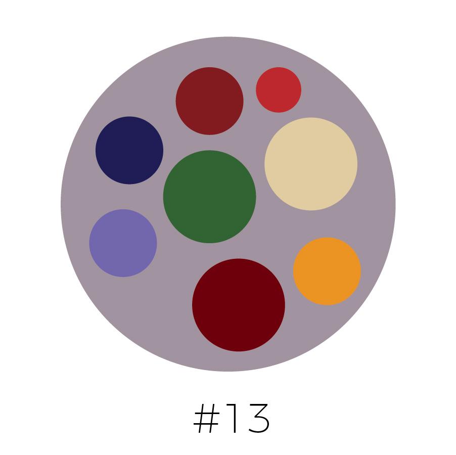 Dove Gray Background | Dark Red, Red, Navy Blue, Dark Green, Beige, Orchid Purple, Brick & Cadmium Yellow