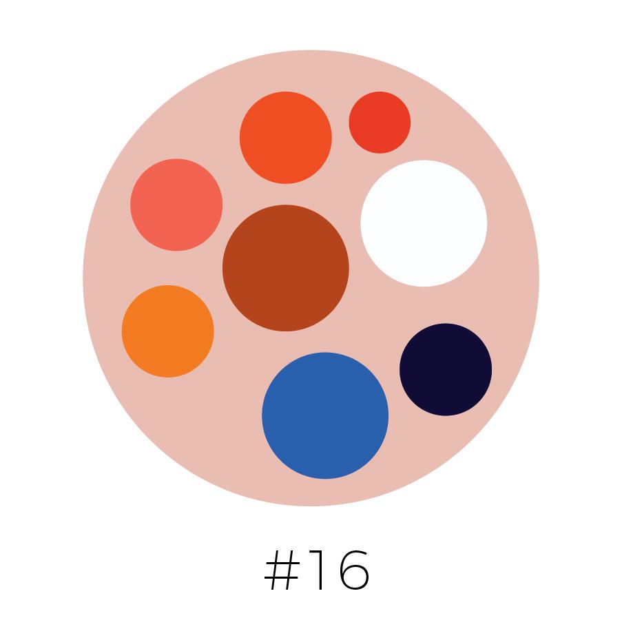 Peach Background | Orange, Blood Orange, Coral, Chestnut, Tangerine, Blue, Prussian Blue  & White