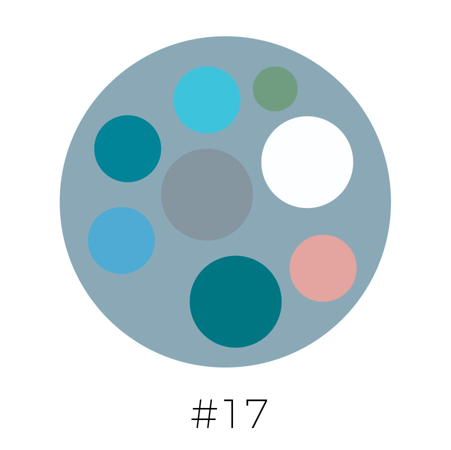 Steel Blue Background | Sky Blue, Olive Green, Teal, Gray, French Blue, Dark Teal, Blush Pink & White