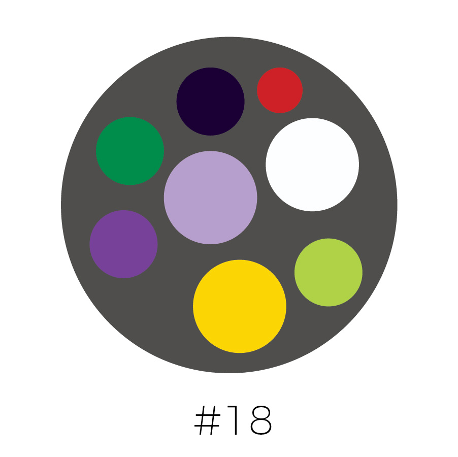 Dark Gray Background | Prussian Blue, Red, Emerald Green, Lavender, Purple, Yellow, Lime Green & White