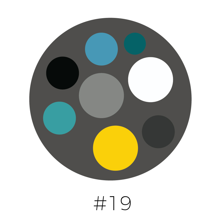 Dark Gray Background | French Blue,  Dark Teal, Black, Gray, Teal, Yellow, Charcoal & White