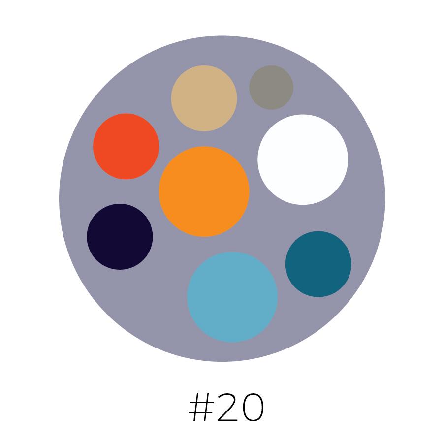 Steel Gray Background | Beige, Gray, Blood Orange, Tangerine, Prussian Blue, French Blue, Dark Teal & White