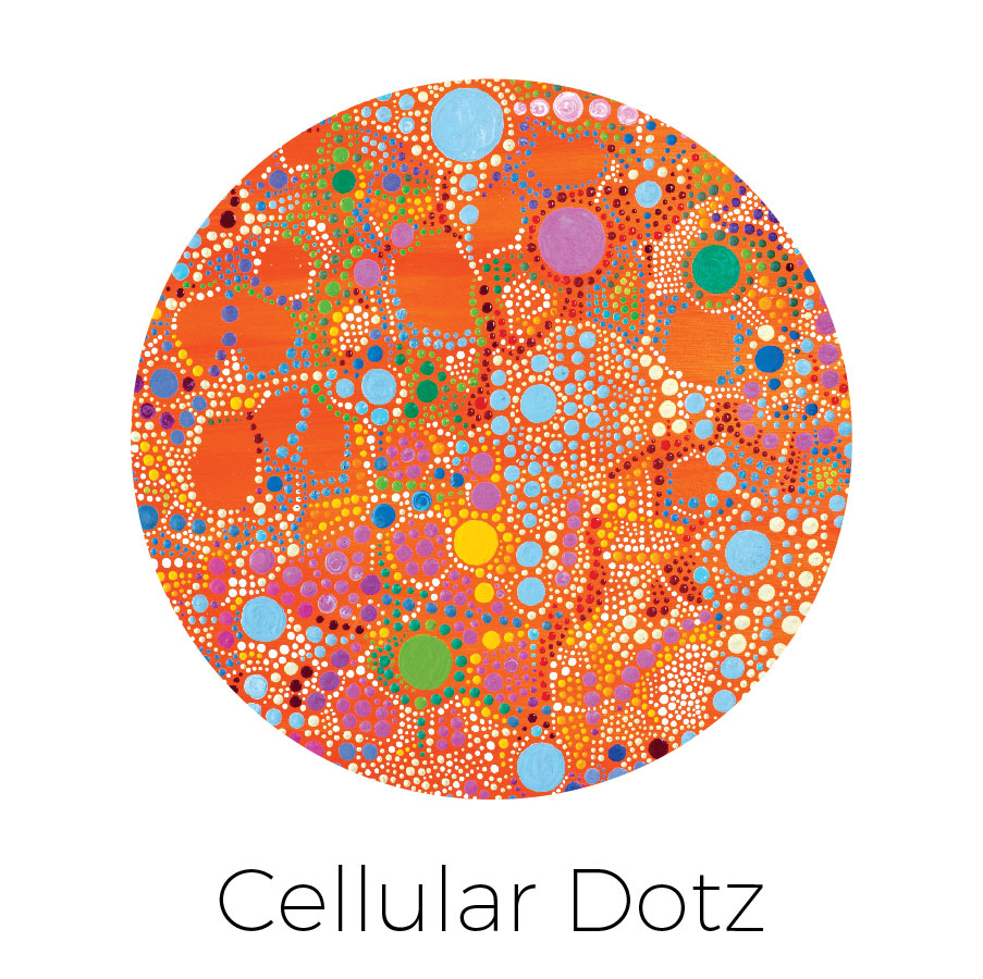 """""""Dotz"""" of all sizes coming together to form """"cells"""""""