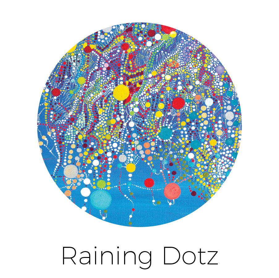 """""""Dotz"""" ascending from the top of the canvas"""