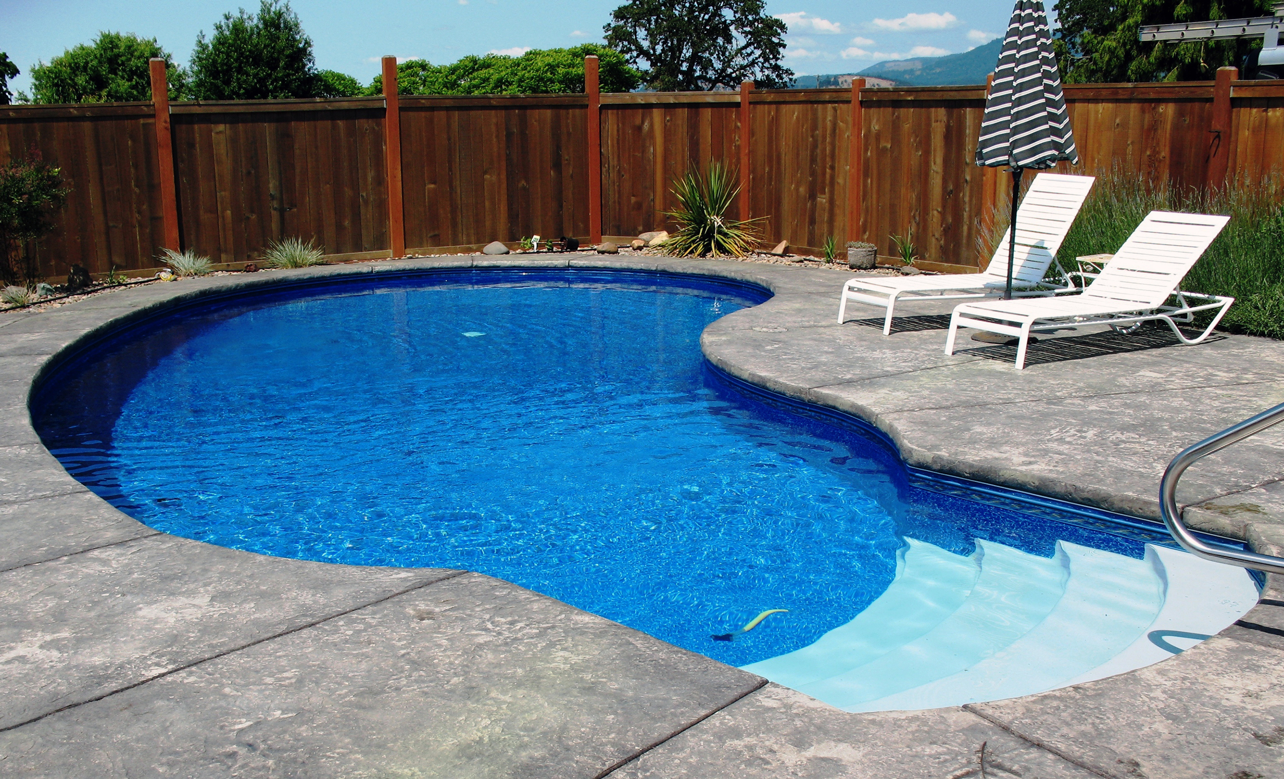Vinyl Liner Pools - Our vinyl liners are custom made from virgin vinyl by Loop Loc in New York. They have a great variety of liner prints to choose from, offer a 5 year warranty and every liner is a custom fit. Vinyl liner pools are soft to the touch. The walls are padded and the floor is made with David's custom concrete/vermiculite mix.