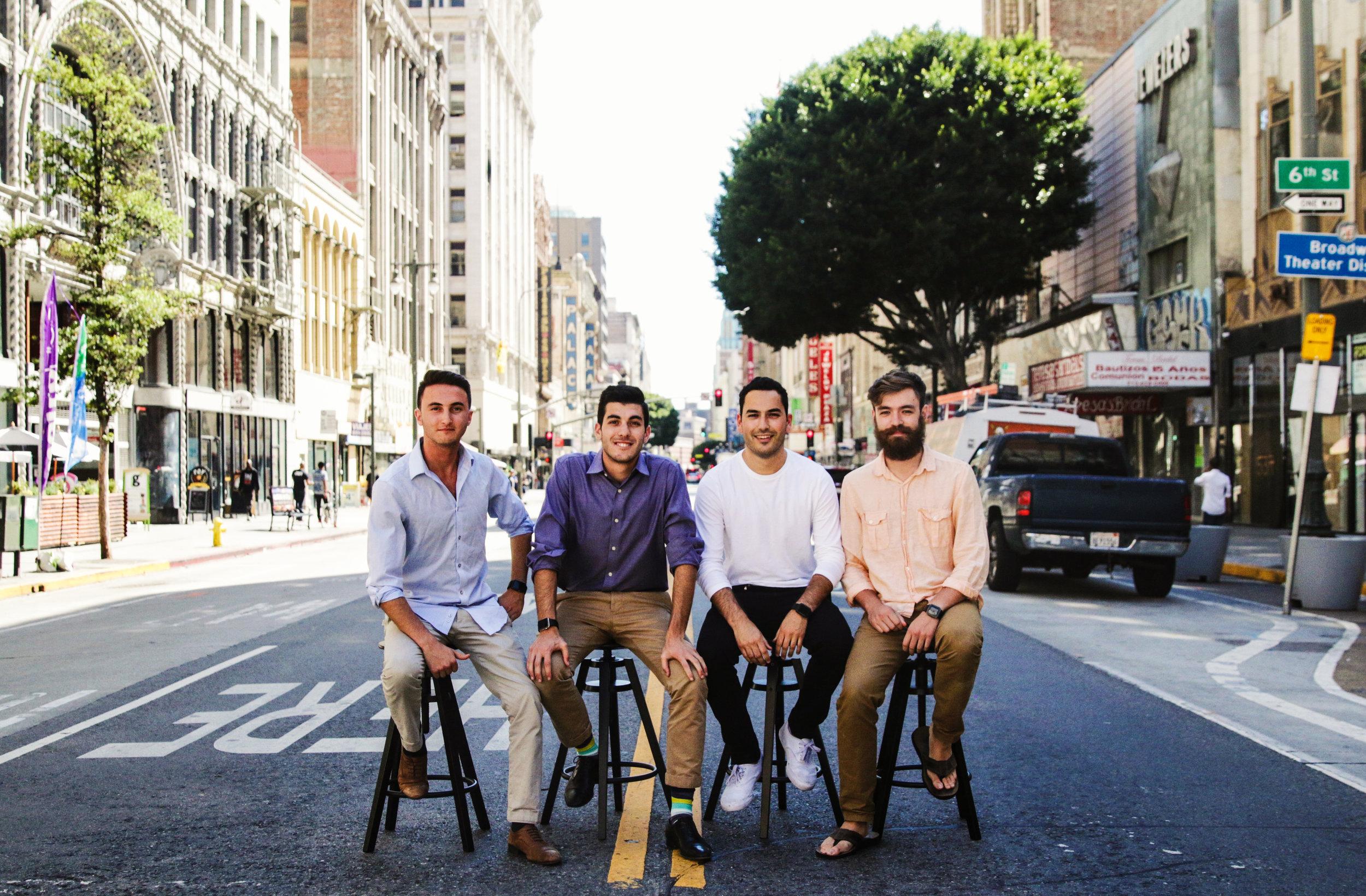 From left to right: Ben Taft (CEO), Matt Stern (COO), Montana Reed (CPO), Evan Bovie (CTO)