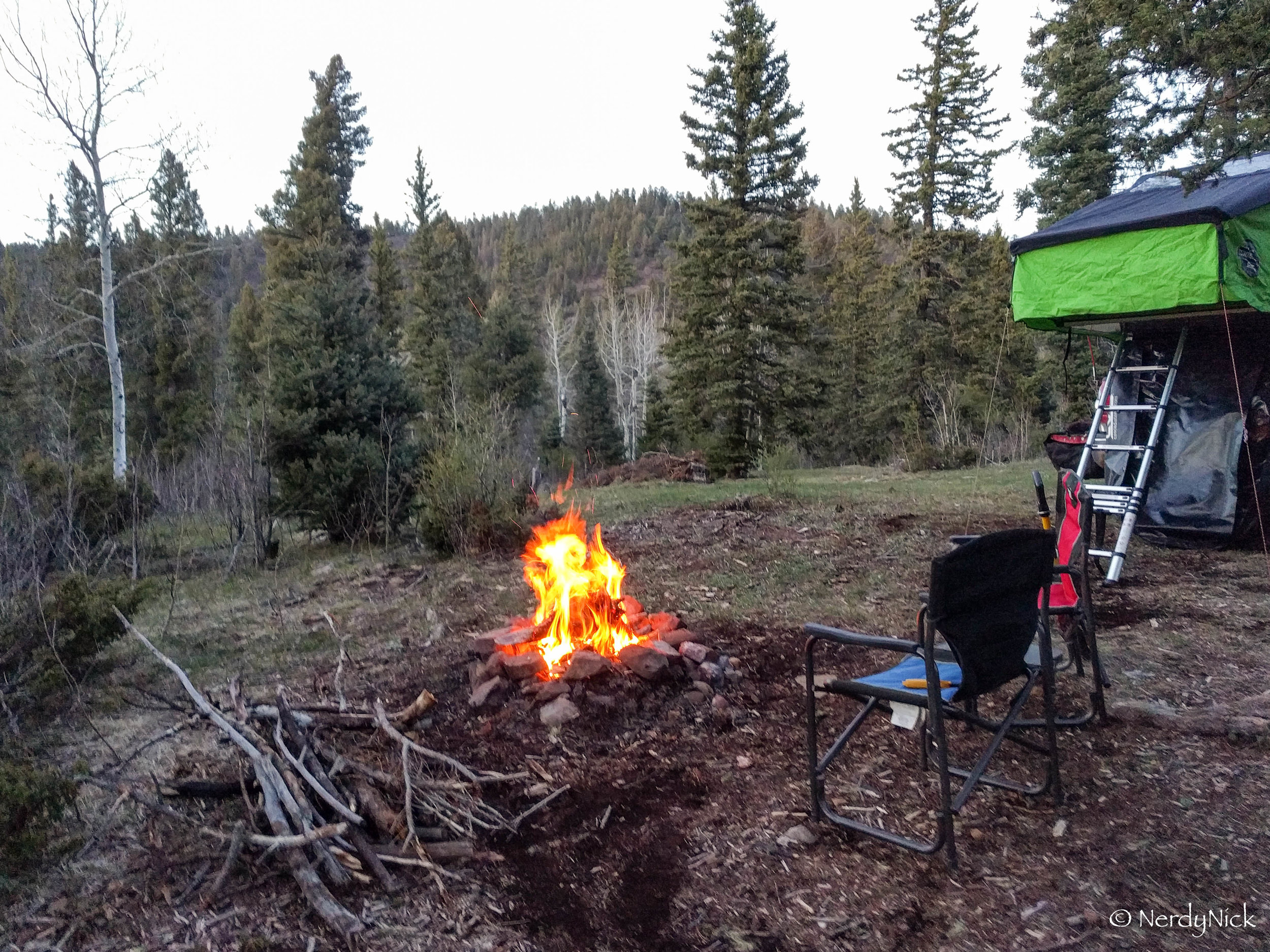 Our camp for the night in the Sangre de Cristo Mountains