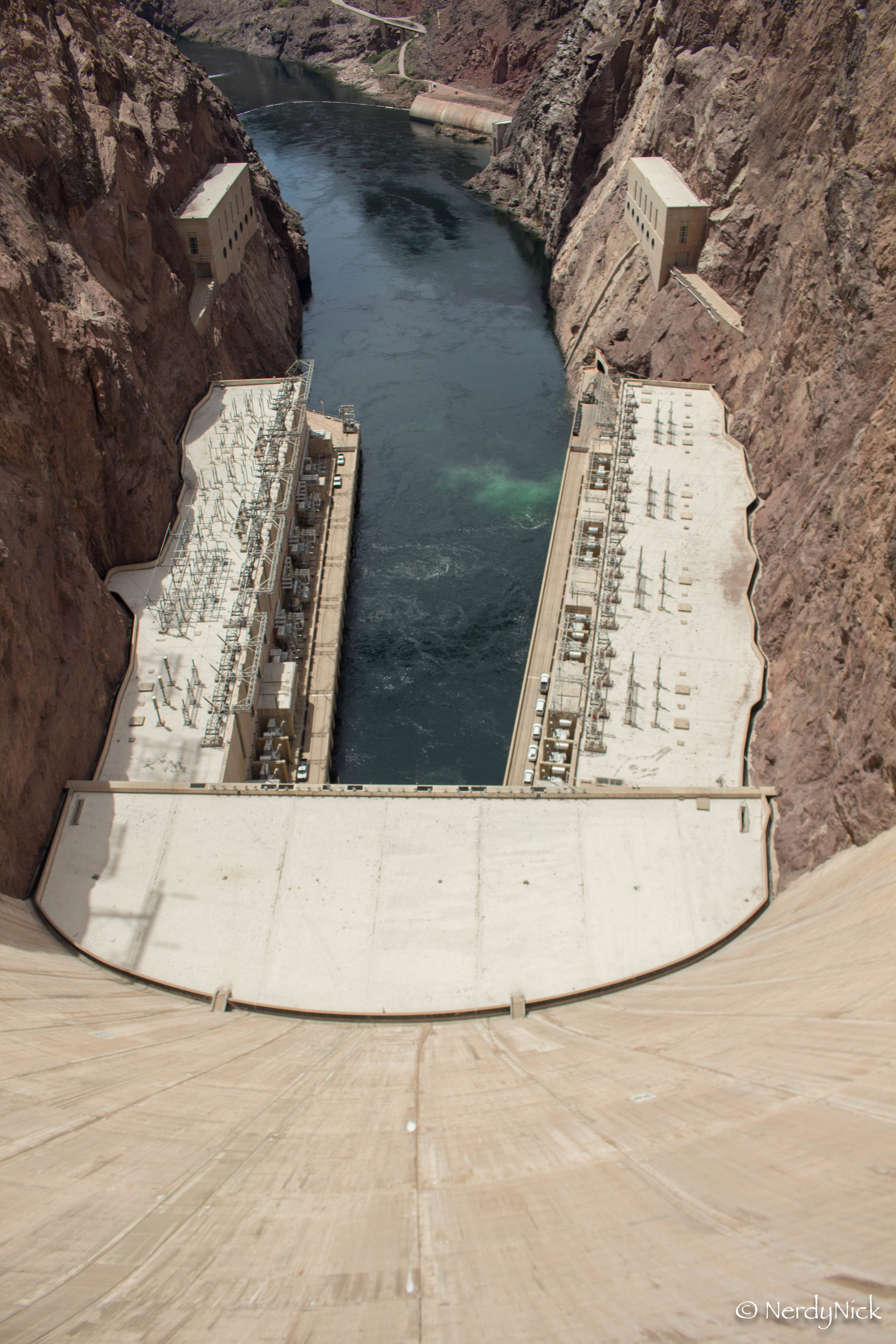Looking down the side of the Hoover Dam
