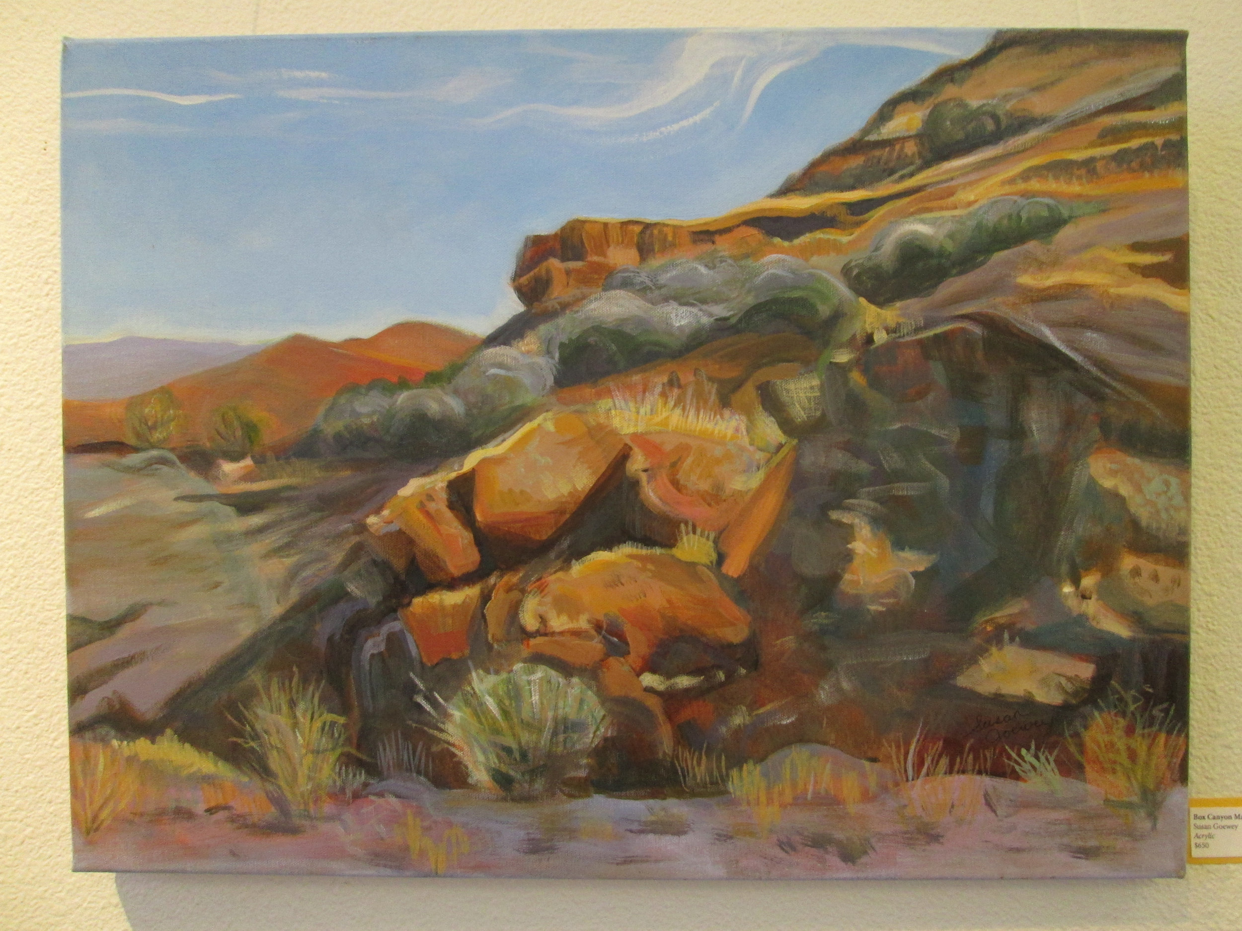 susan goewey  Studio Location #17  paintings, handwoven, handspun landscape taperties