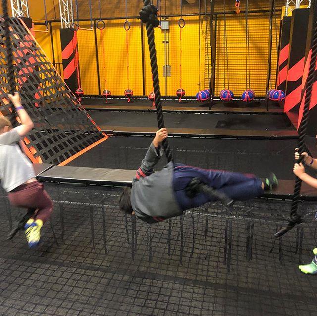 Rockin' Jump in Mirarmar has installed an American Ninja Warrior course in their Facility. Kids loved it. Just opened today! #americanninjawarrior #rockinjump #sandiegokids #offthe56