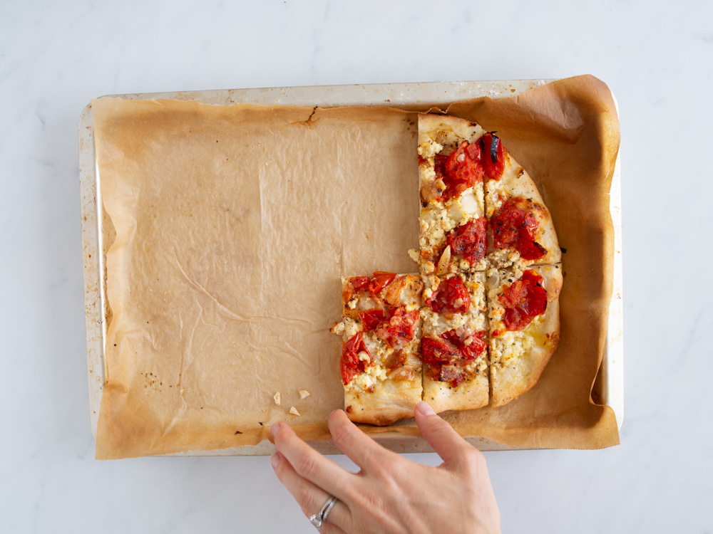 Garlicky Ricotta and Burst Tomato Pizza   www.mackenziemjordan.com
