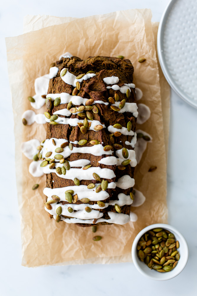 Ginger-Turmeric Pumpkin Bread with Coconut Glaze | www.mackenziemjordan.com