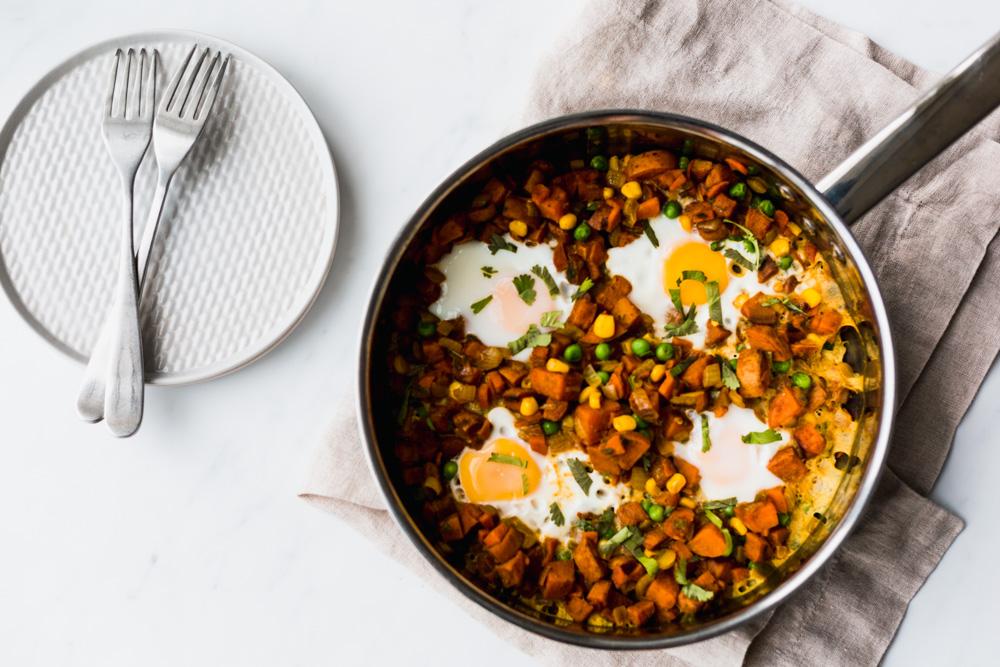Samosa-Inspired Sweet Potato Breakfast Hash