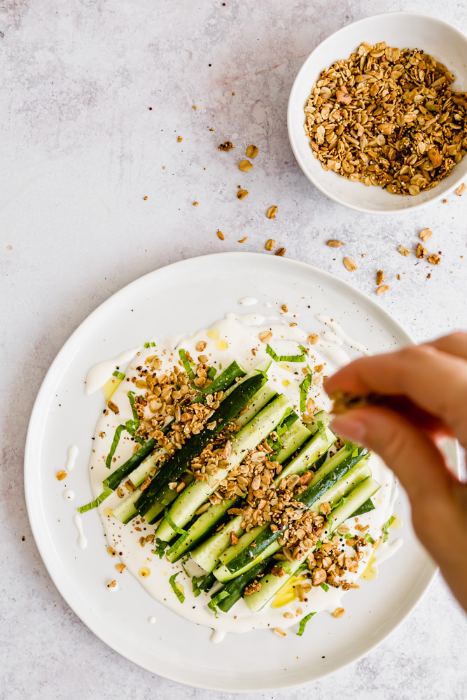 cucumber salad with whipped feta