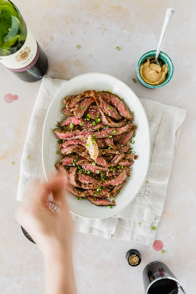 Marinated Flank Steak with Miso Butter