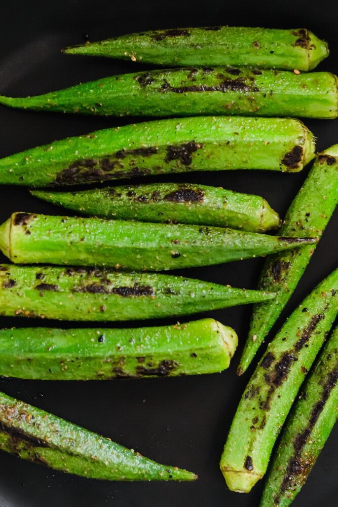 Pan Roasted Okra with Chili Oil