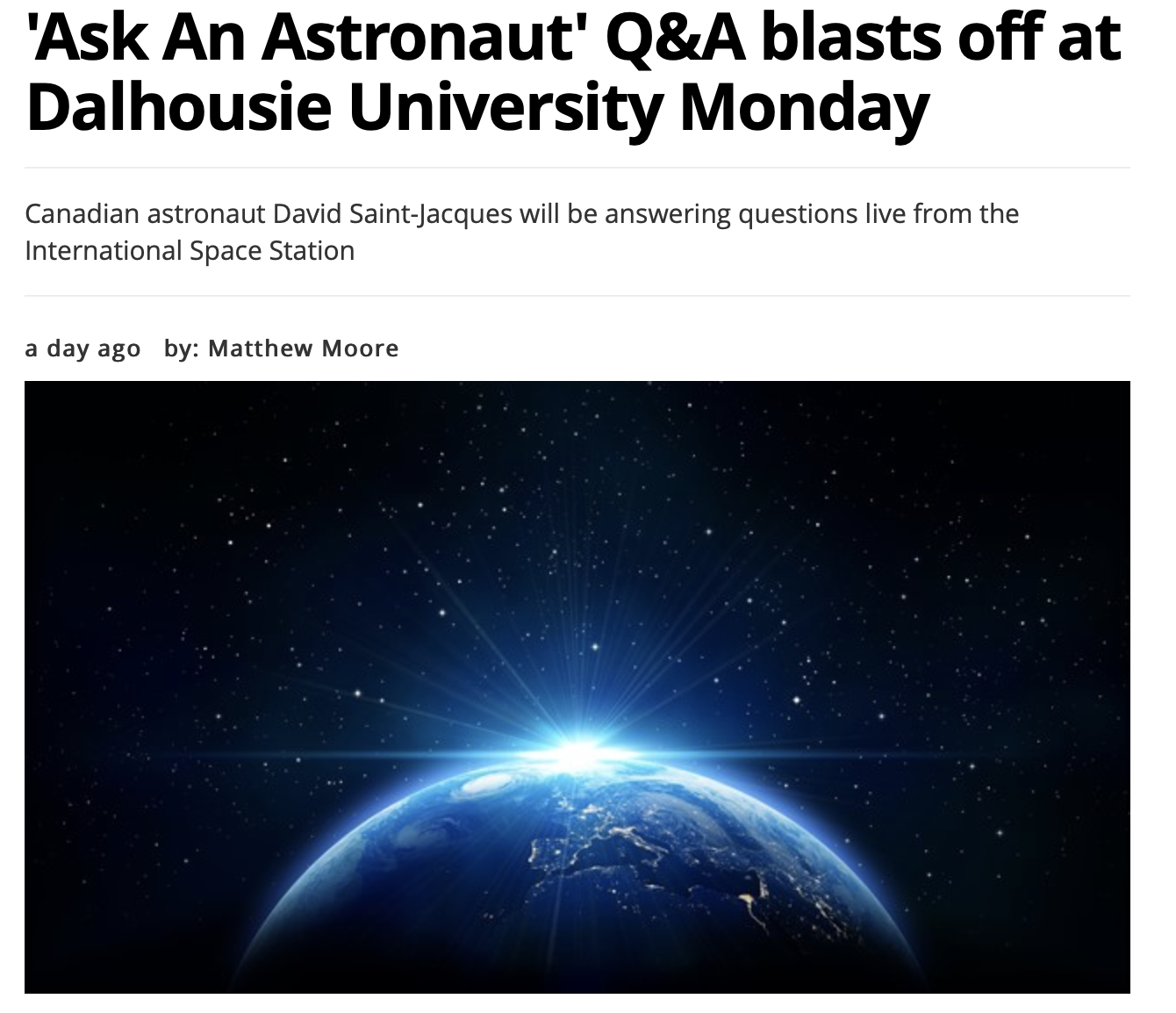 'Ask An Astronaut' Q&A blasts off at Dalhousie University Monday