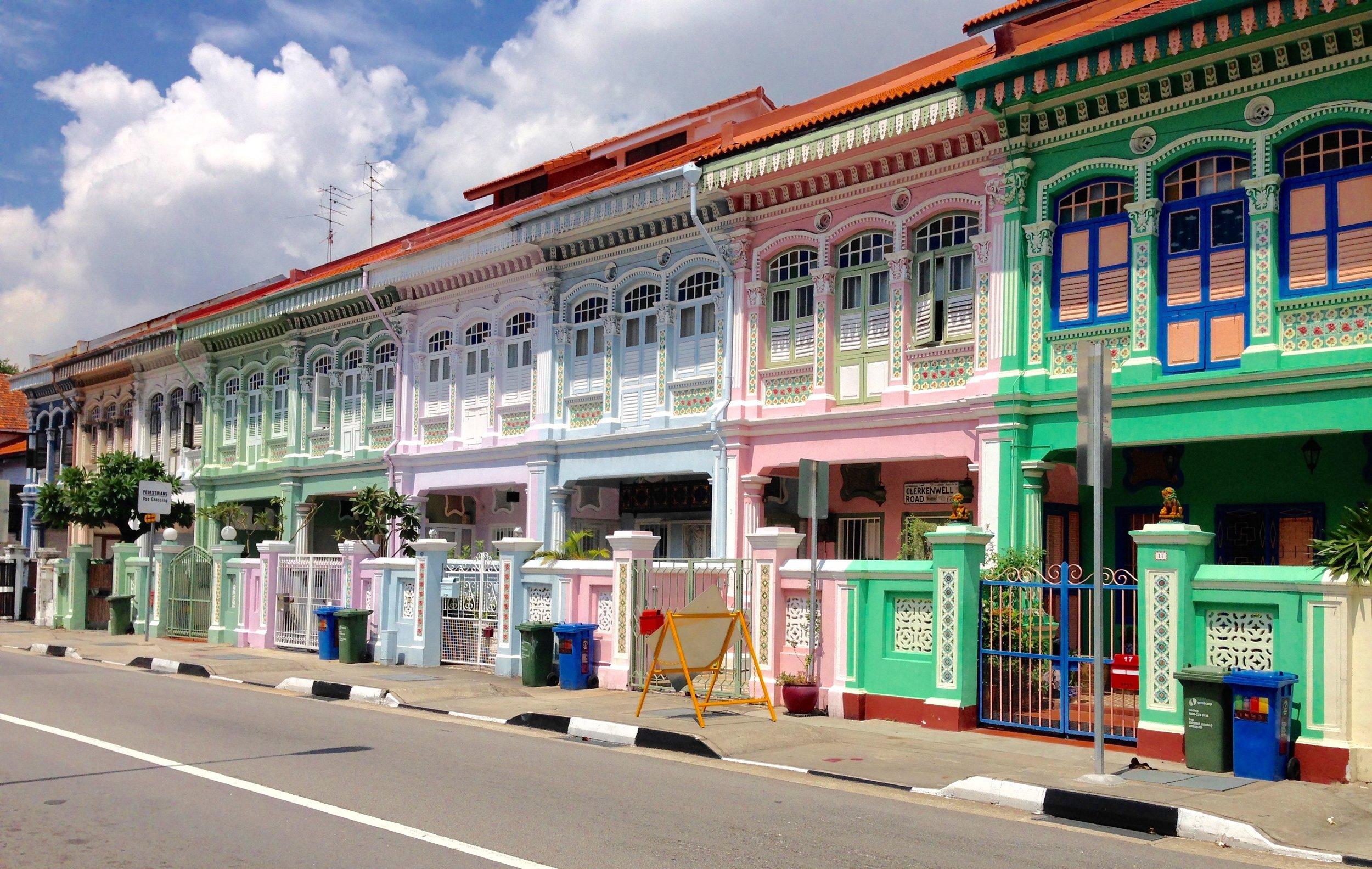 Colourful Peranakan shophouses