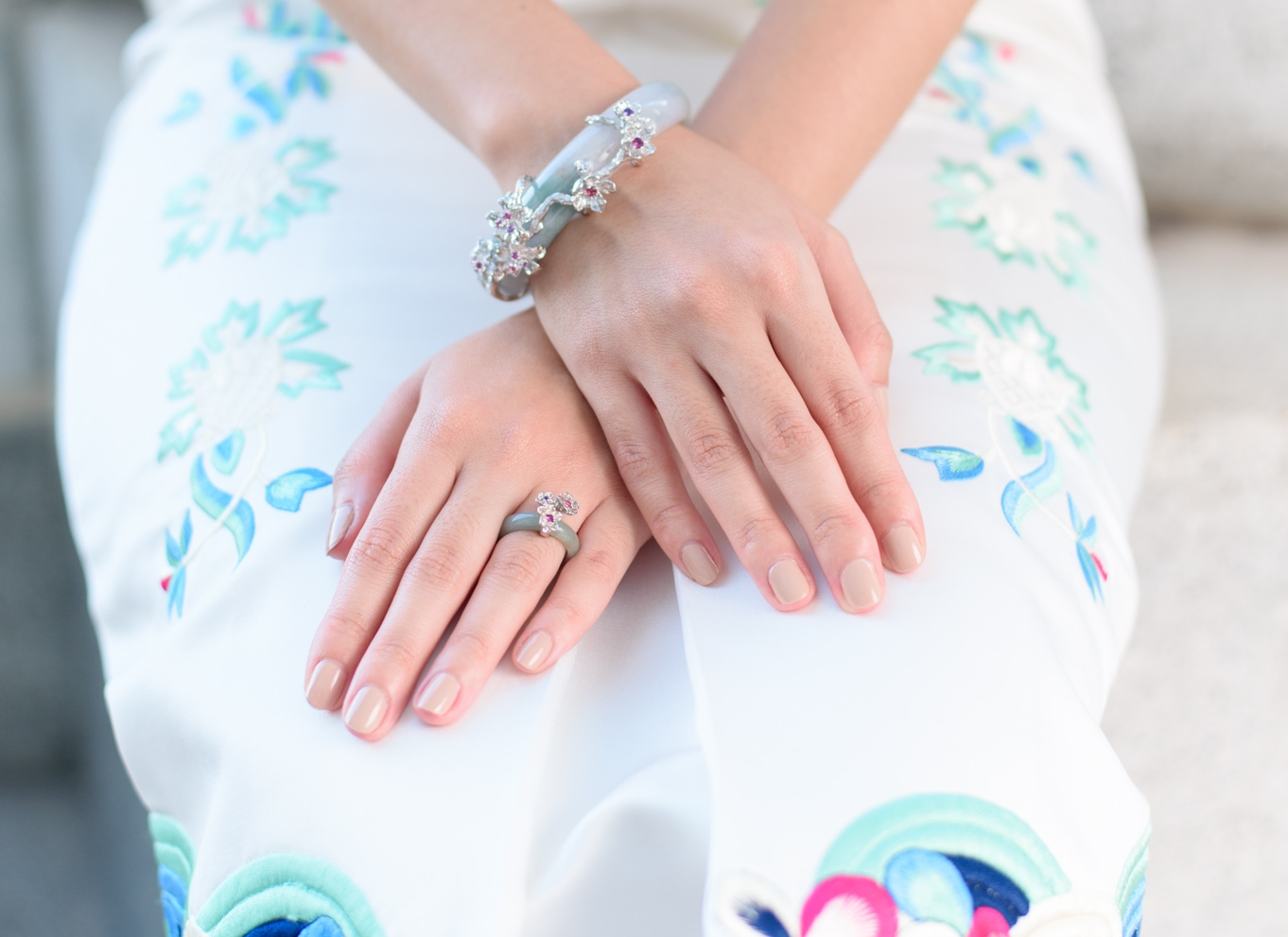 Featuring the Cherry Blossom Jade Bangle and the Sakura Florette Ring.