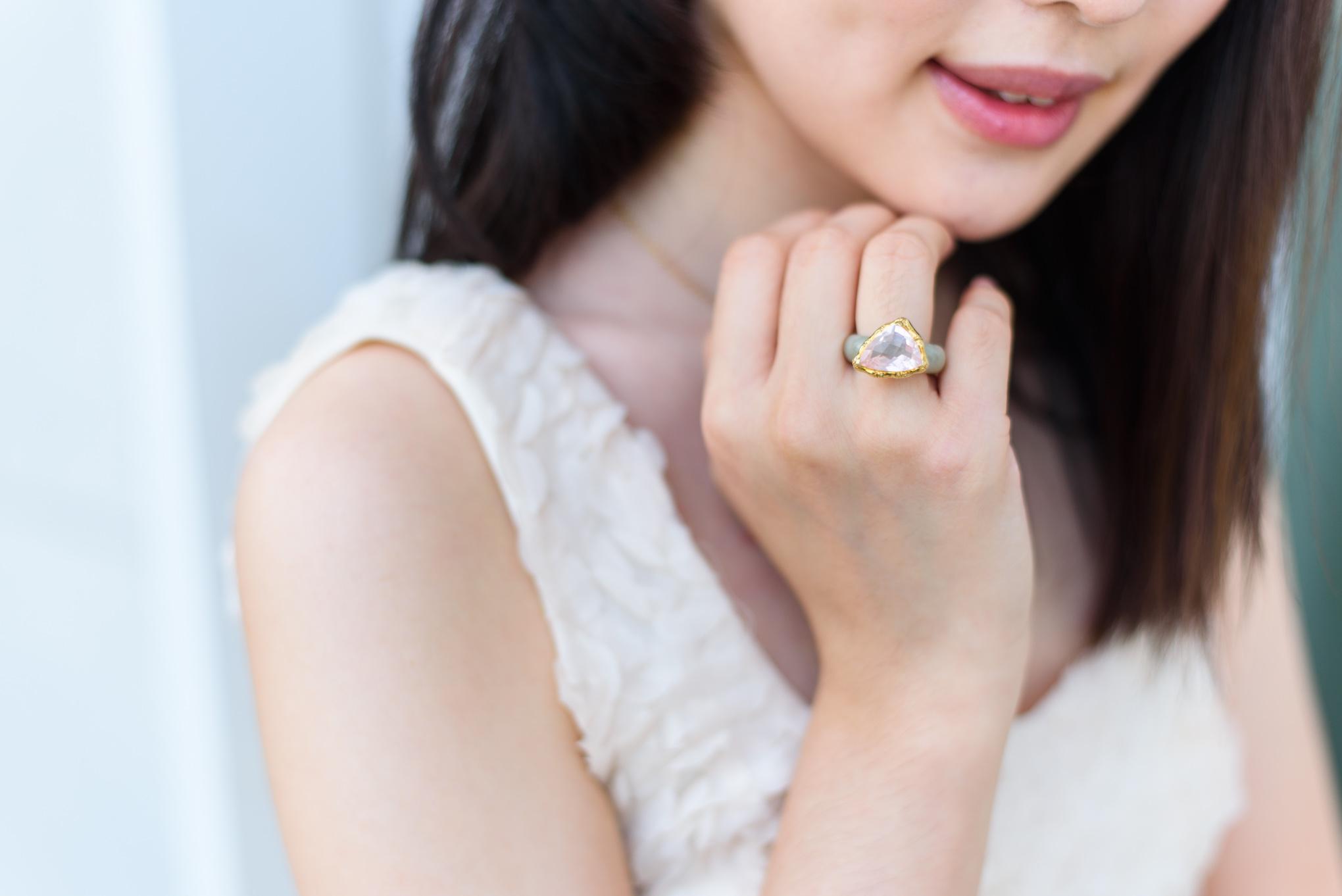 The classic Bamboo Trilliant Ring in Rose Quartz.