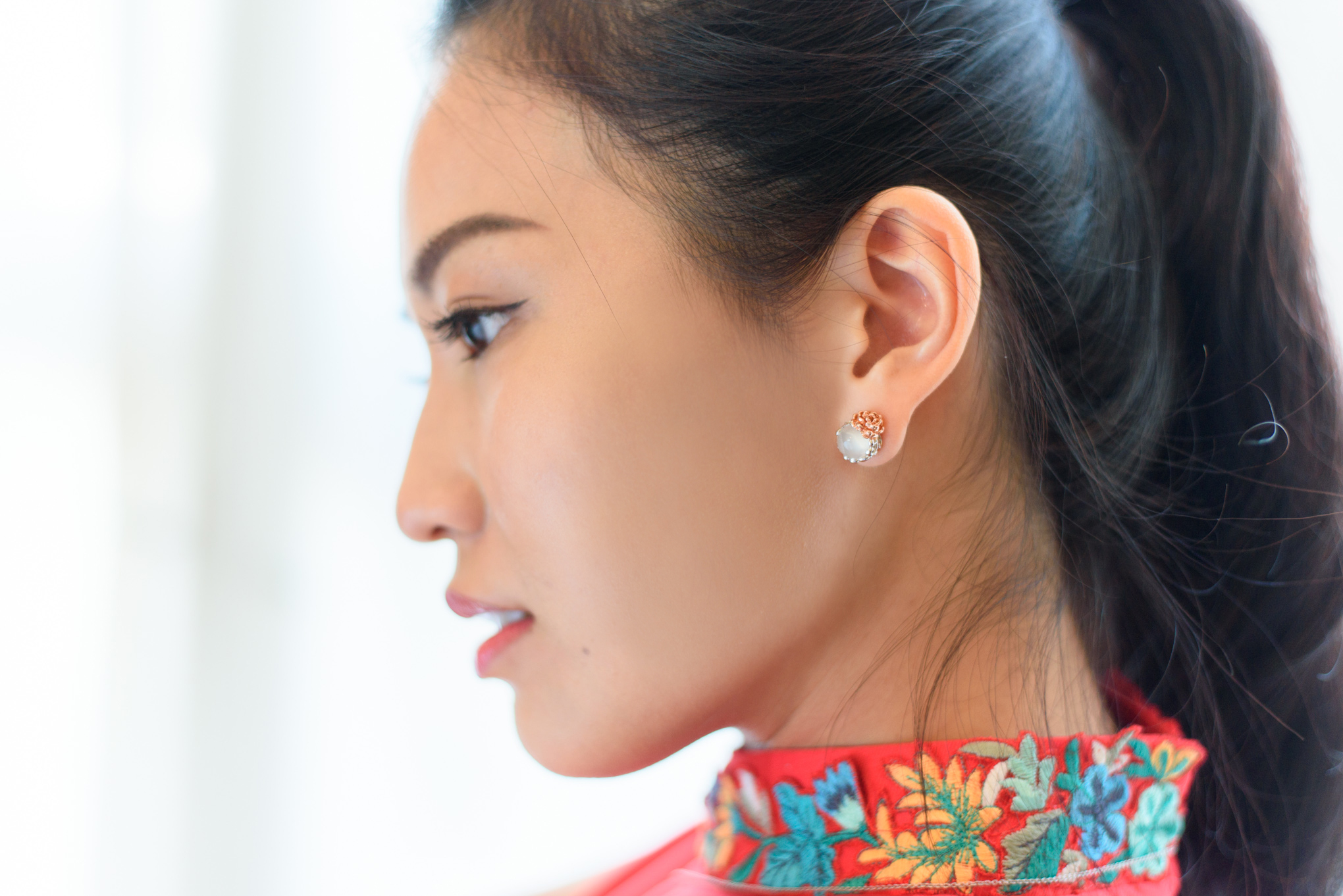 Bountiful in beauty, exceptional in quality, alluring in detail, the Flower Jade Studs.