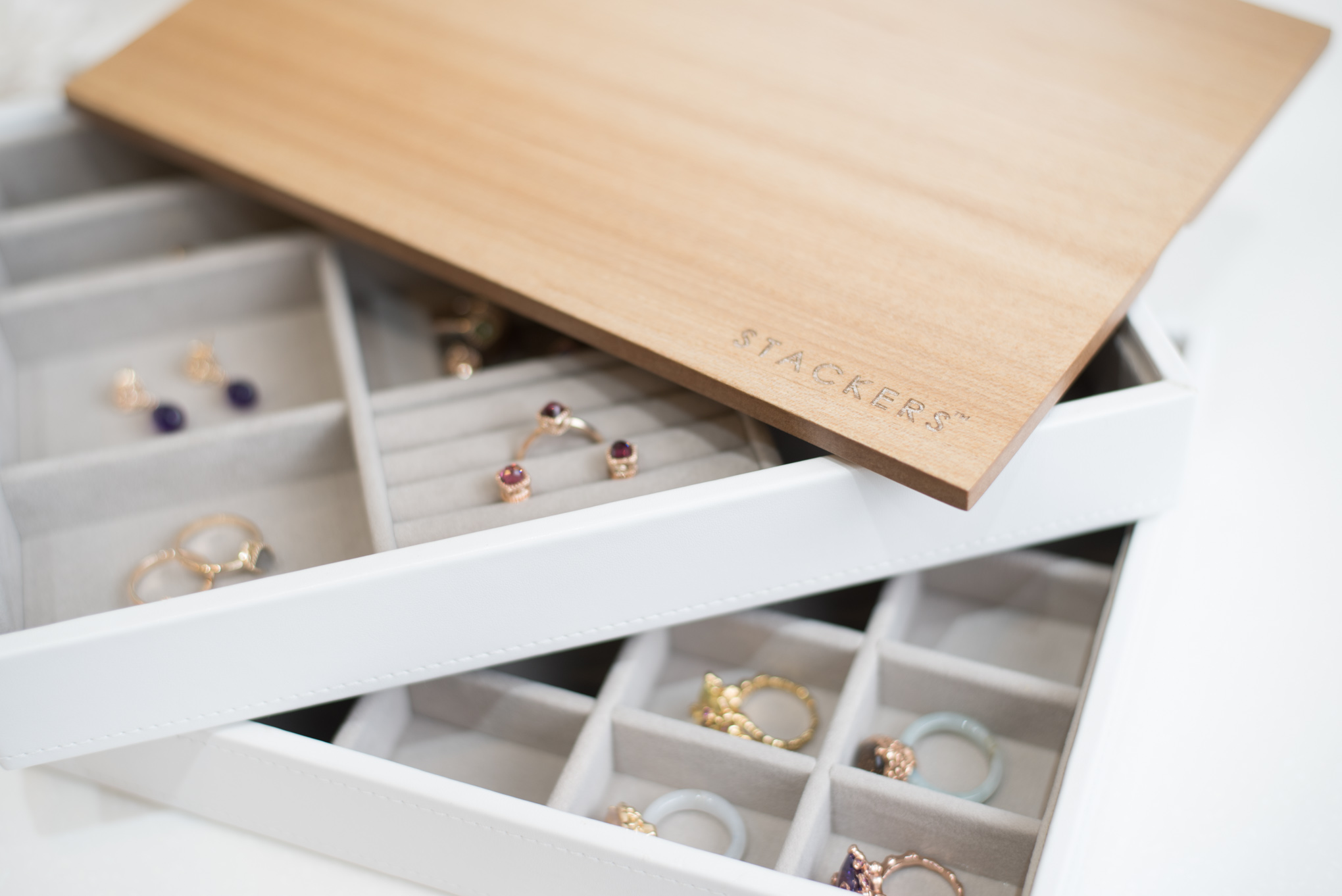 Classic Wooden Lid   , Classic Stacker,    White Classic Small Trinkets Layer