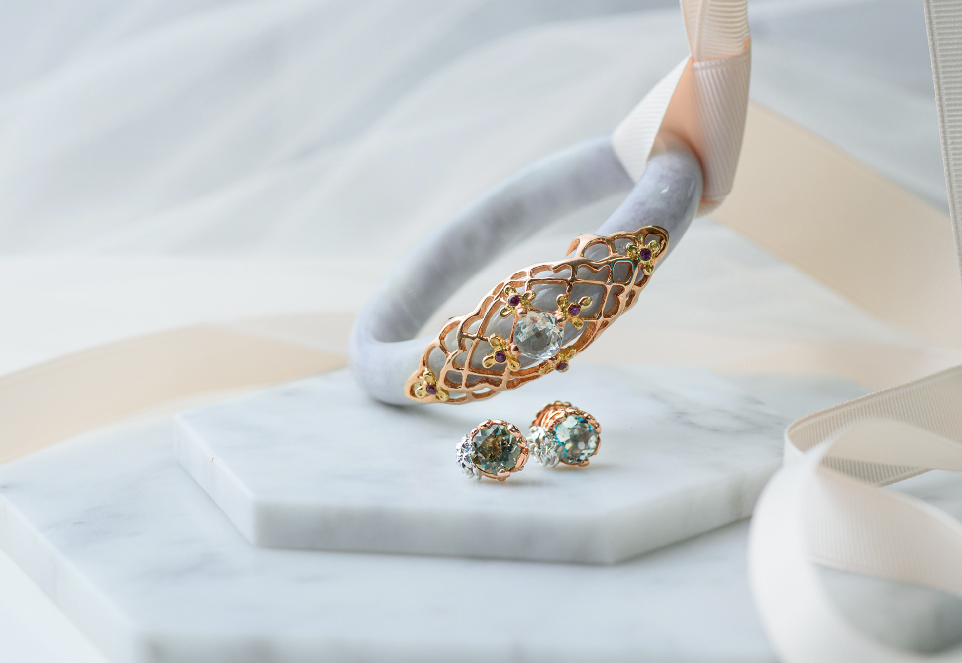 The Peranakan Classic Jade Bangle and Flower Jade Studs