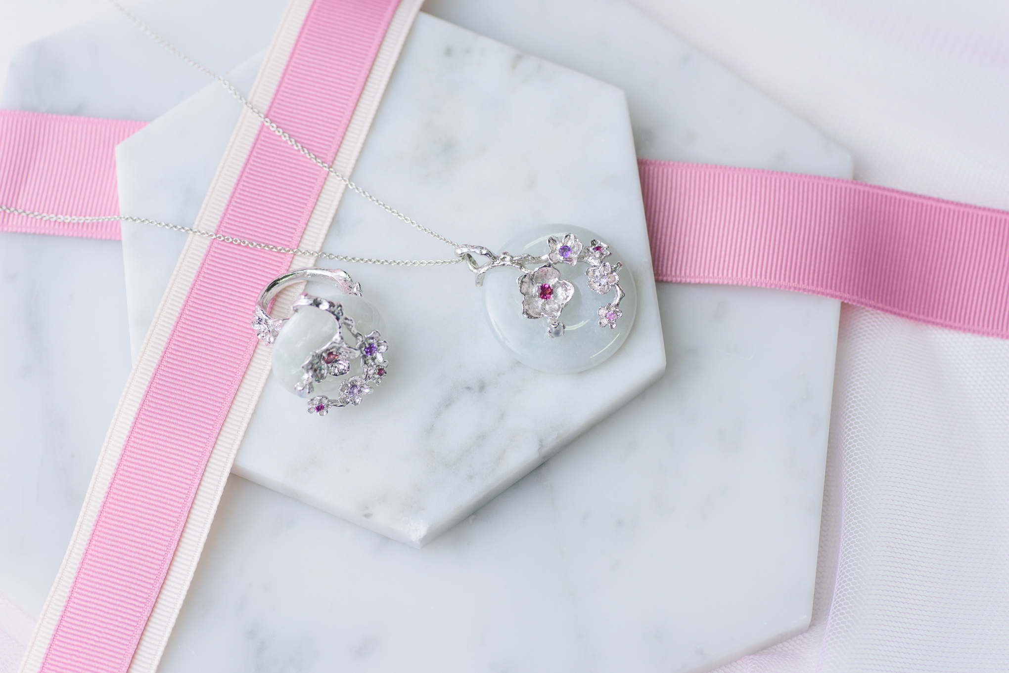 Cherry Blossom Branch Ring and Cherry Blossom Branch Necklace