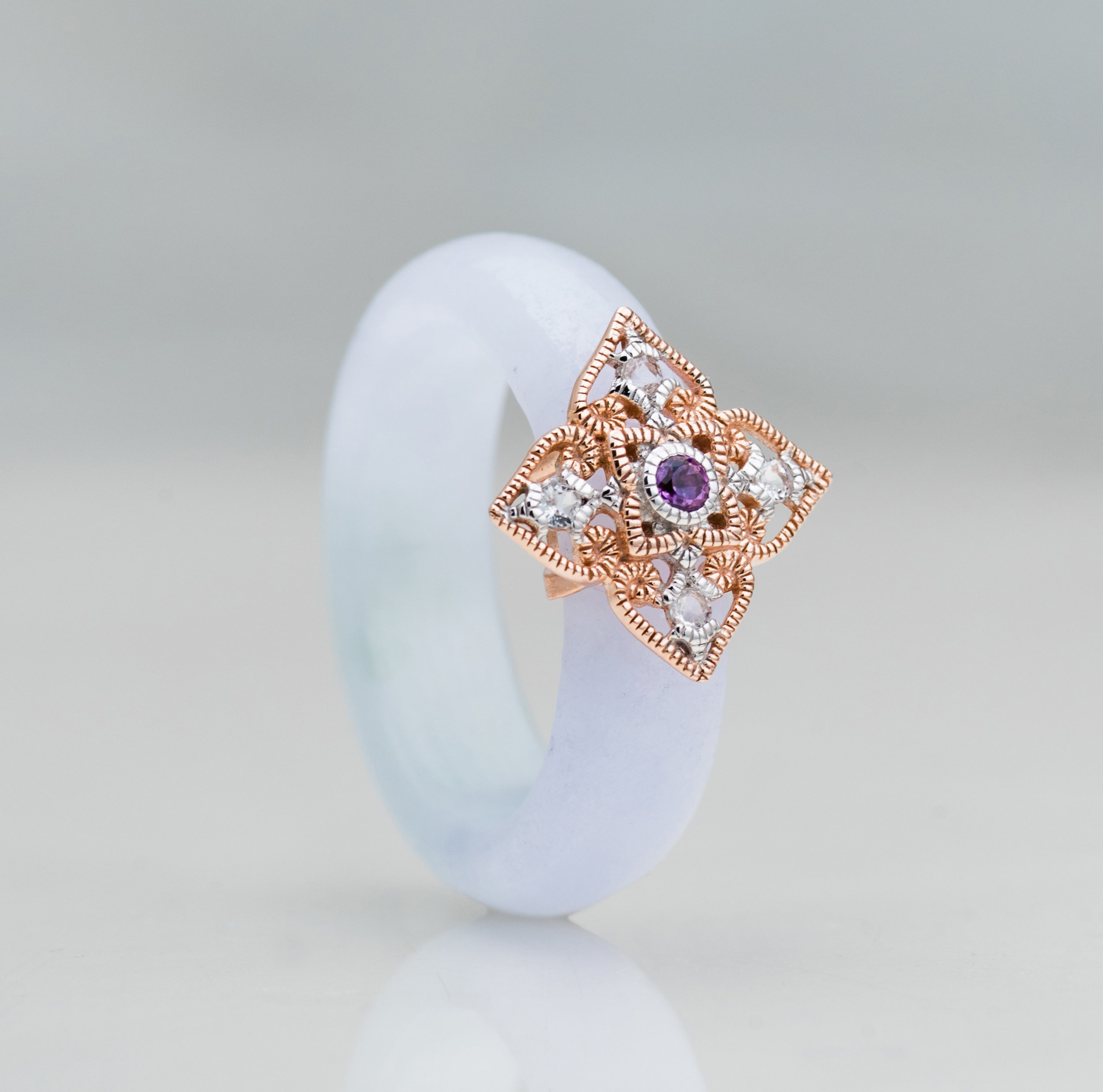 Amethyst: For Stress Relief - The official birthstone for individuals born in February, Amethyst's purple hue has been historically associated with royalty and luxury. Nature's own tranquiliser, it is said to calm and soothe one's inner emotions, dispelling fear and anxiety.Whilst it's easy to get carried away with life's hustle and bustle, the Peranakan Lace Ring in Amethyst can serve as a gentle reminder that despite the clichés, it's true that worrying does not empty tomorrow's troubles. So hang your inner turmoil at the door, kick back, take a deep breath, and relax.