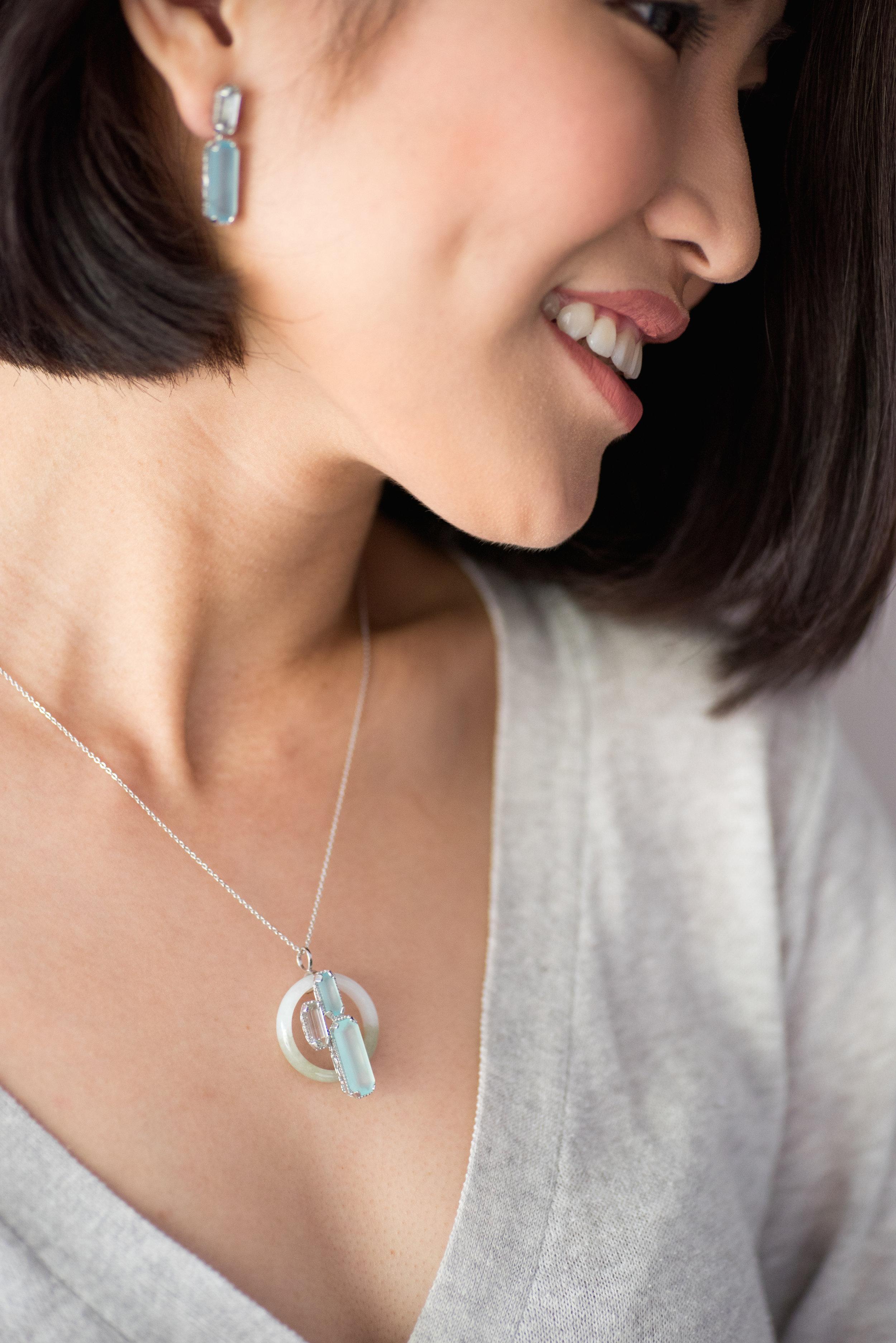 Choo Yilin Shophouse Jade Necklace and Shophouse Gemstone Earrings